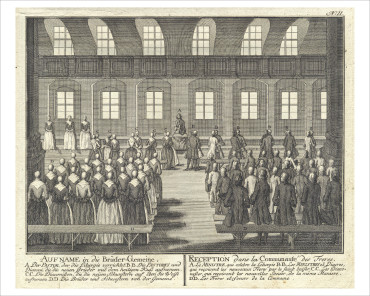 18th century Moravian illustration of the reception of new brothers