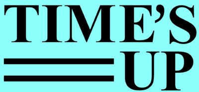 Time's Up logo with blue background
